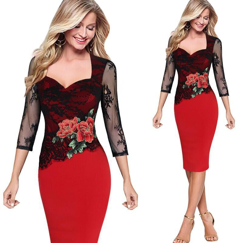 Vitiana 2017 mujeres vintage floral de encaje rojo party dress sexy bodycon eleg