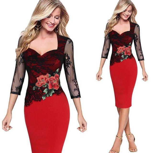 Vitiana 2017 mujeres vintage floral de encaje rojo party dress sexy bodycon elegante slim three quarter patchwork ropa