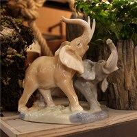 Мать и дитя творческий керамический слон Сад Home Decor Craft Room Свадебные украшения ремесленного фарфоровая статуэтка животного