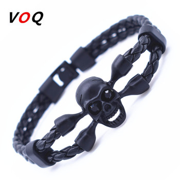 Vintage Black Skull Bracelets Bangles Hand Made Top Quality Length 210mm Leather Bracelet Skeleton Charm Bracelet Men Jewelry