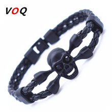 Vintage Black Skull Bracelets Bangles Hand Made Top Quality Length 210mm Leather Bracelet Skeleton Charm Bracelet Men Jewelry(China)