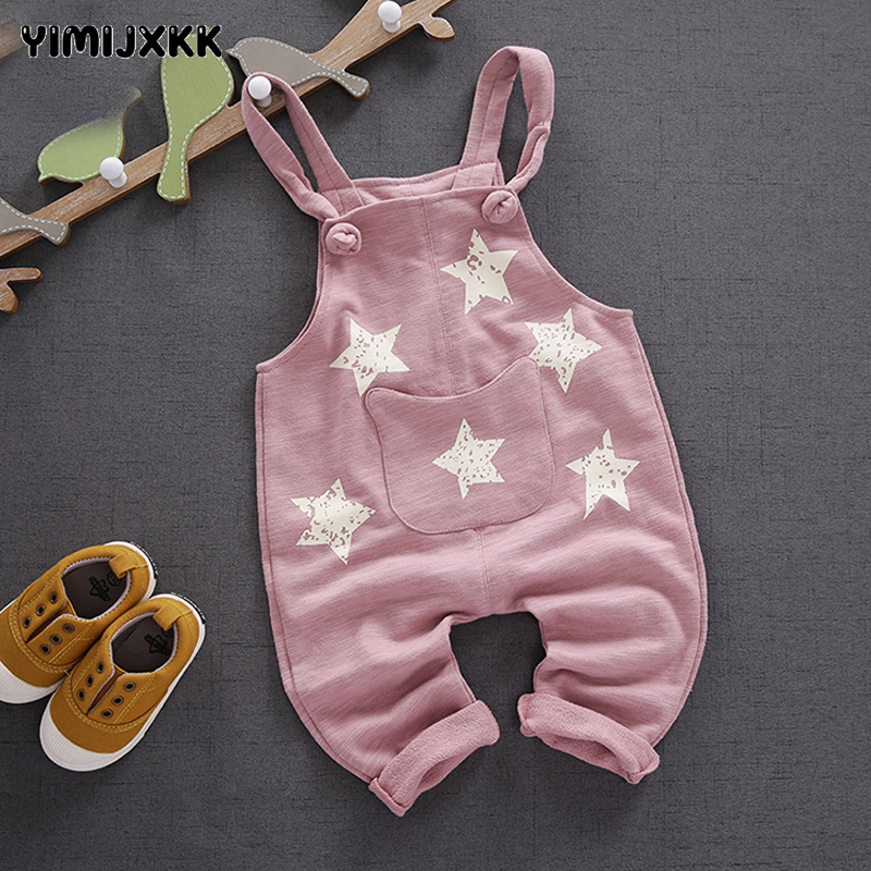 Fashion Baby Overalls Autumn Spring Infant Pants Cute Star Boy Girl Suspender Trousers Children Cotton Pant Newborn Overalls