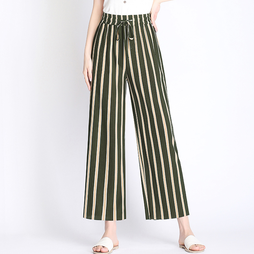 New 2019 Women summer high waist   wide     leg     pants   vintage striped stretch loose   pants   ladies outwear casual beach   pants   trousers