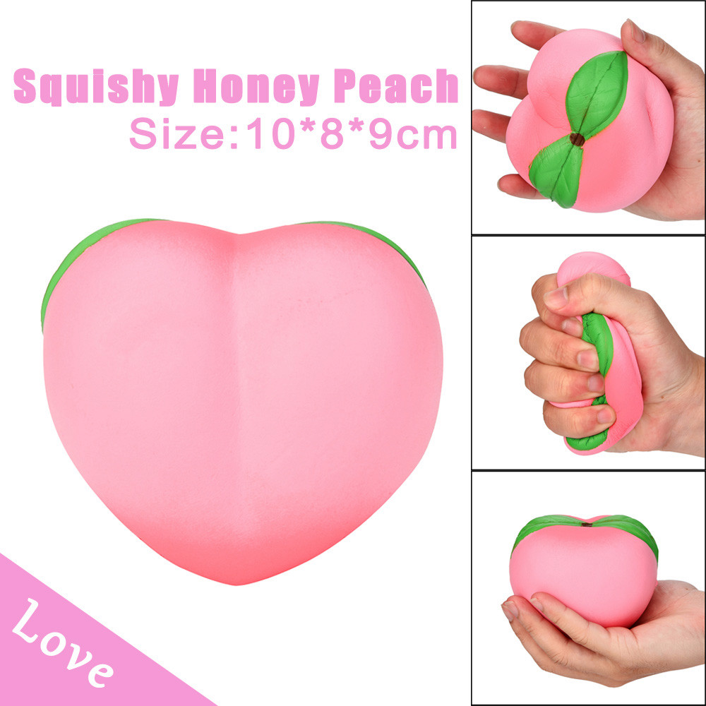 Cute and soft charms 11CM Pink Honey Peach Cream Scented Squishy Slow Rising Squeeze Strap Kids Toy for cellphones