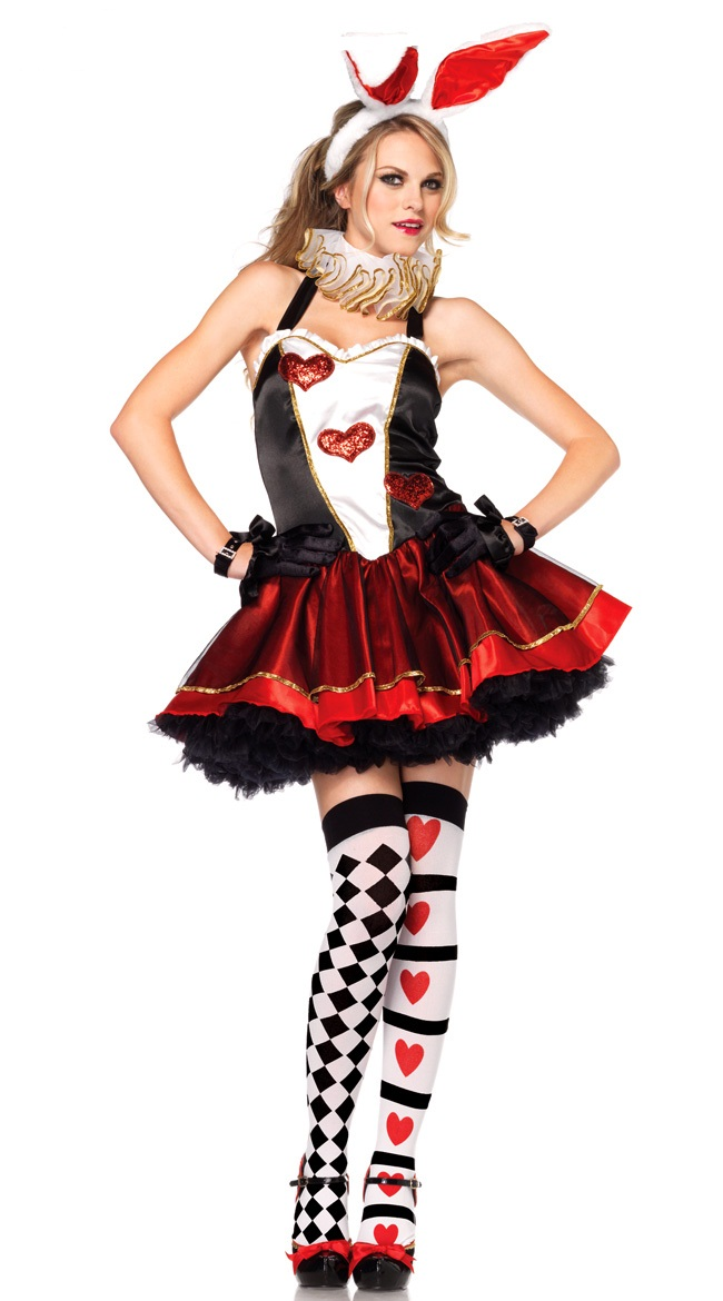 Club Show Sexy Rabbit Costume Halloween Women Poker Hearts Cosplay Dress Cute Big Ears Nightclub