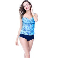 Ladies high quality tankini set, 2016 new floral printed top and solid brief bathing suit, free shipping