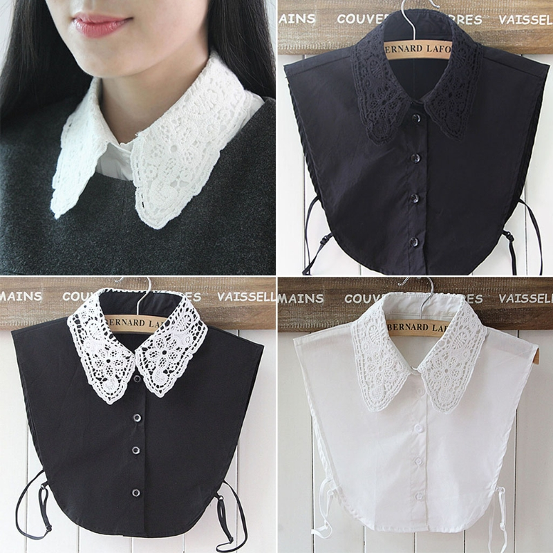 Shirt Fake Collar White & Black Tie Vintage Detachable Collar False Collar Lapel Blouse Top Women Clothes Accessories