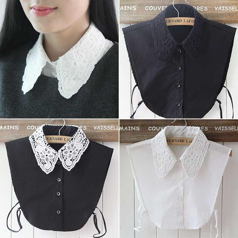 Womens False Collar Fake Half Shirt Blouse Collar Vintage Black #4