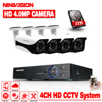 4CH 4MP CCTV DVR Home Security Camera System 4*4.0MP Waterproof indoor Outdoor IR Light Night Vision Video Surveillance Kit 2TB