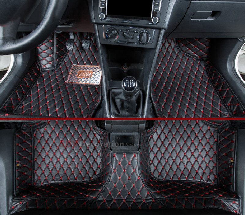 car-styling Accessories For Volkswagen Tiguan 2007-2015 Interior Full set Car Floor Mats Foot Pad Auto Leather Carpet car rear trunk security shield cargo cover for volkswagen vw tiguan 2016 2017 2018 high qualit black beige auto accessories