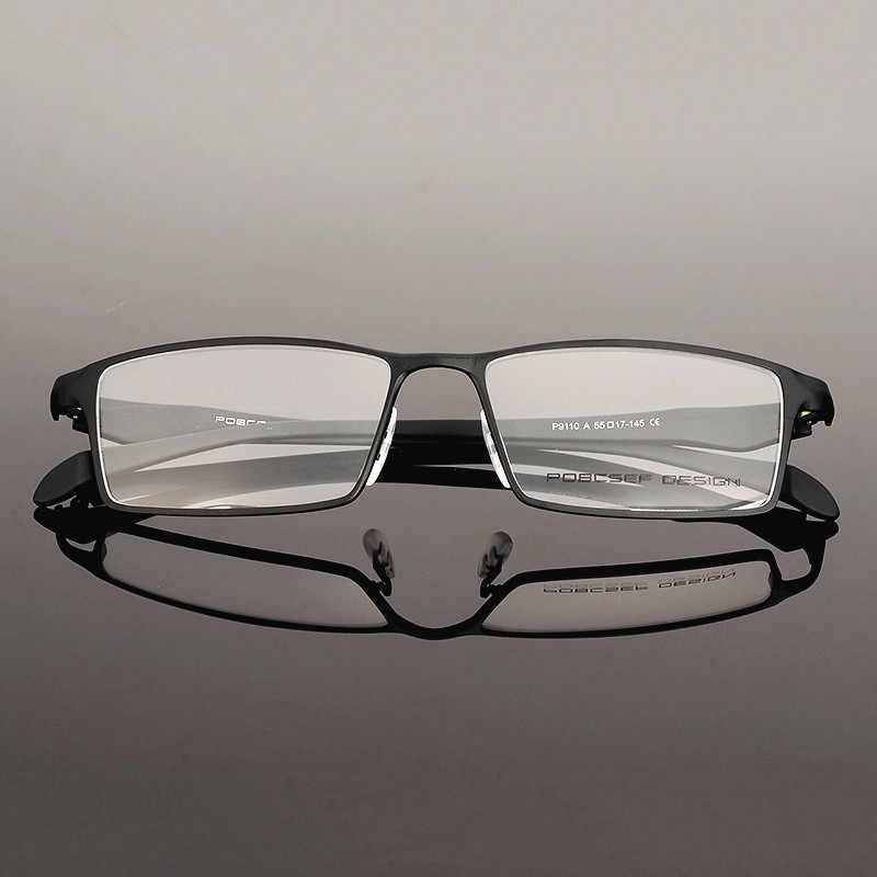 Klasik Mens Murni Titanium bingkai Kacamata Bingkai Penuh Miopia Bingkai Optik Titanium ultra-ringan Kacamata Bingkai komputer 9110