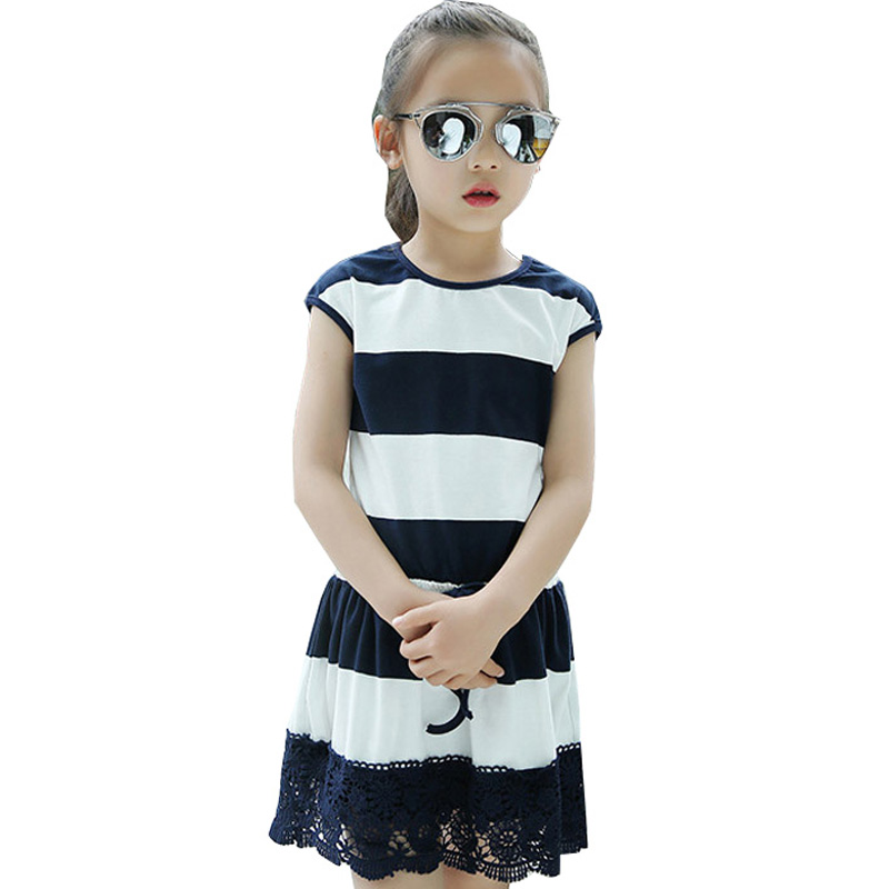 Kids Striped Dresses For Girls Cotton Short Sleeve Summer Dress Children Straight Casual Dress 4 6 8 10 12 Years School Vestidos  high quality casual cotton striped dress for girls teenagers kids summer sleeveless soft vest vestidos children costume