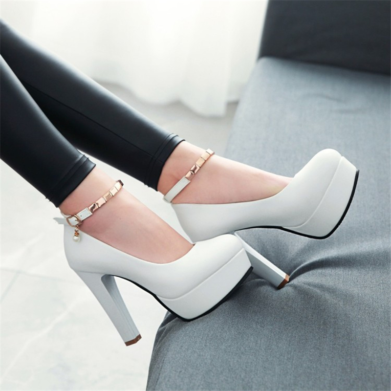 SARAIRIS 2019 Big Size 33-43 Platform Elegant Pumps Women's Shoes High Heels Party Shoes Woman Office Lady Ankle-strap Pumps
