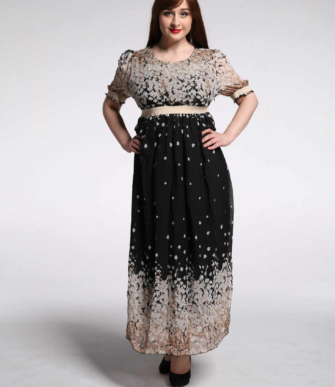 91eafe7047 TUHAO Print Puff Sleeve Big Size Woman Dress Maxi Long Floral Sweet Elegant  Women s Dresses Plus