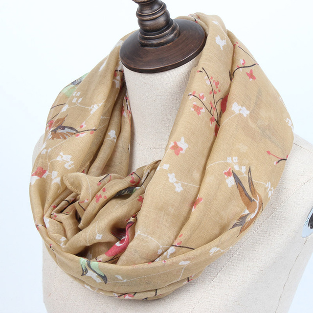 Blossom Birds Thin Scarf | Infinity Scarves | Up to 60% Off Now