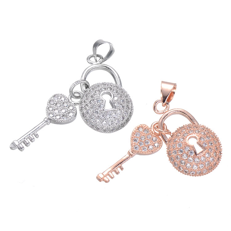 Jewelry Making Supplies Fashion Women Accessories Micro Pave Zircon Rhinestone Copper Key And Lock Pendants For Necklace Making