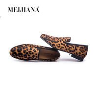 MEIJIANA New Handmade Leopard Men Red Bottom Loafers Gentleman Luxury Fashion Stress Shoes Party sequin shoes Men Casual Shoes