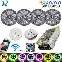 RGB DC 12 В светодио дный полосы света Wi Fi RGBW полосы SMD5050 20 м в полоску Водонепроницаемый Neon Гибкие светодио дный лента диод лента + WiFi Управление