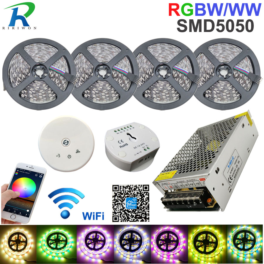 RGB DC 12 V Led bande lumineuse WiFi RGBW bande SMD5050 20 M bandes étanche néon Flexible Led bande Diode ruban + contrôle WiFi + puissance