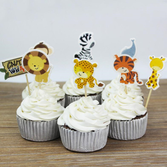 Cartoon Zoo Jungle Animal Cupcake Topper Kids Boys Girls Baby Shower Birthday Cake Decorating Party Christmas
