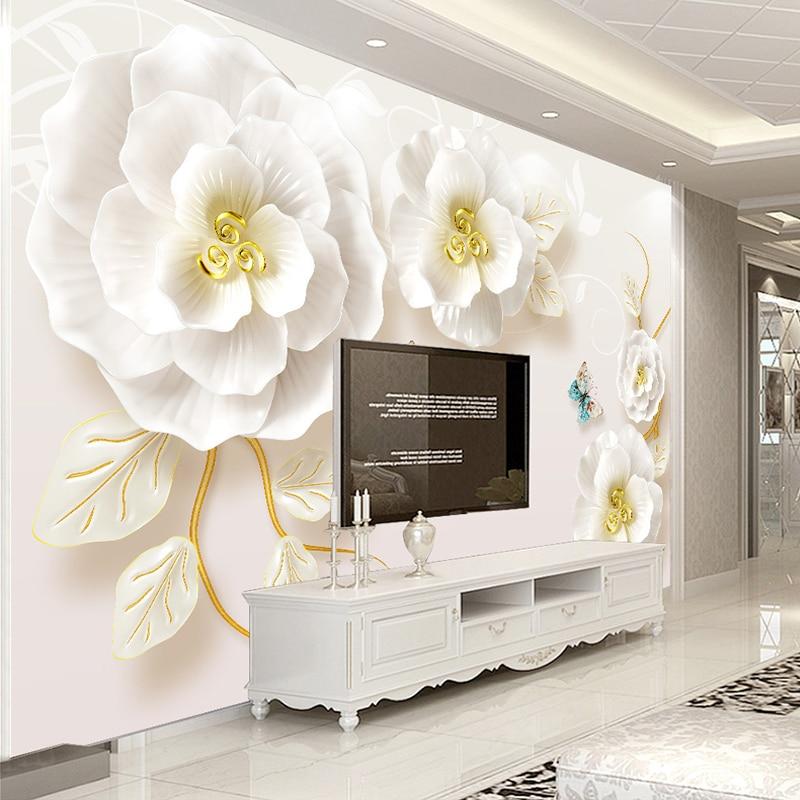 Custom Photo Wallpaper Murals 3D Embossed Rose Living Room TV Background Wall Painting Non-woven Wallpaper Murales De Pared 3D