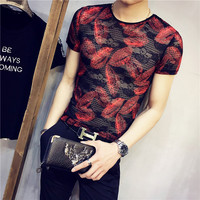 2018 summer men's sexy hollow perspective mesh T shirt night field social guy printing half sleeve youth tight short sleeve