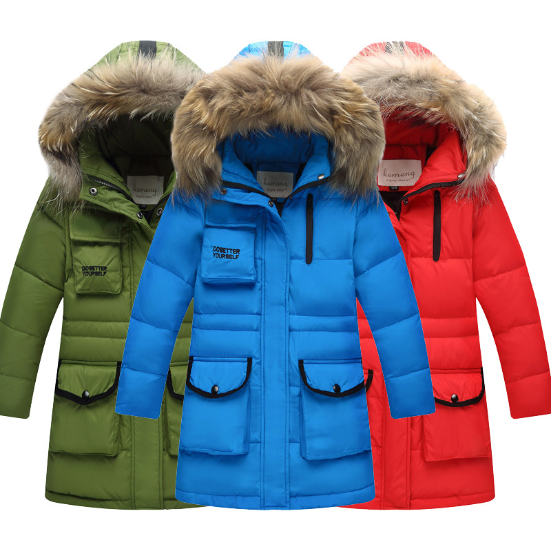 2018 New Children Winter Duck Down Jacket for Girls Thickening Warm Down Coat for Boys Long Big Fur Hooded Outerwear Coats