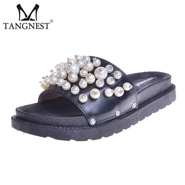 Summer Pearl Slippers Women Slide Sandals Soft Flats Beach Platform Shoes