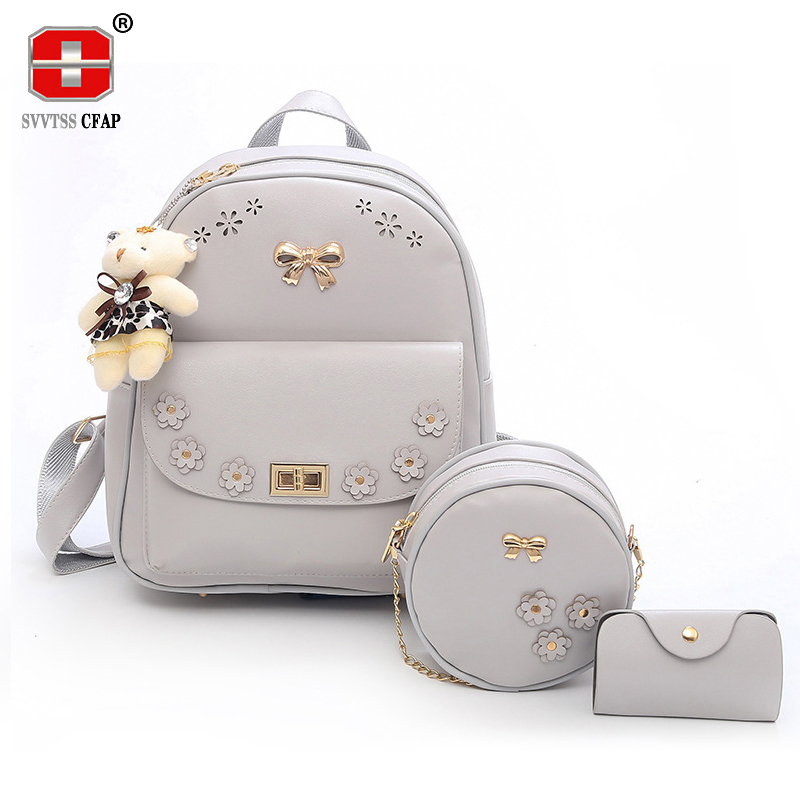 Candy Fashion Women Backpack for Girls teenage Pu Leather Back Pack Female Small Crossbody Bags Chain 3 Pcs/set 2018