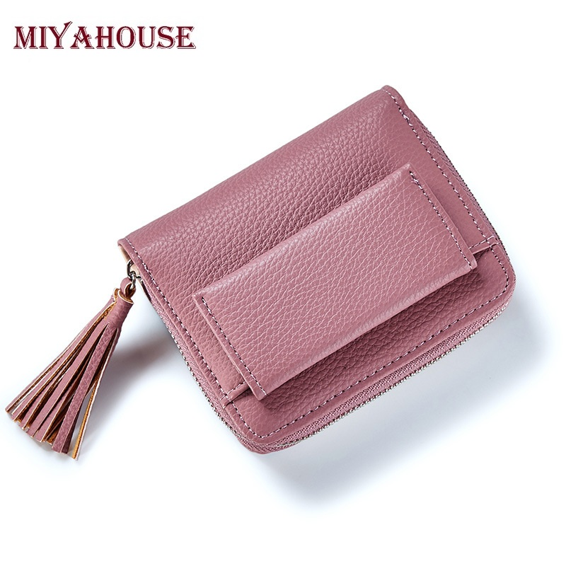 Fashion Casual Women Wallet Leather Card Bag Tassel Hollow Card Wallet Coin Purse Mini Clutch Small Zipper Card Holder Bag Girls Wallets