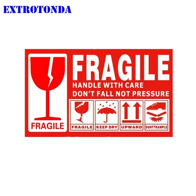 Etiqueta de advertencia frágil 100 pzas unids/lote 9x5 cm pegatina frágil arriba y manejar con cuidado mantener el envío en seco exprés etiqueta