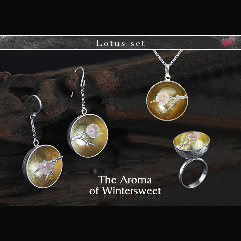 Lotus Fun Real 925 Sterling Silver Natural Handmade Fine Jewelry Flower The Aroma of Wintersweet Jewelry Set for Women Bijoux lotus fun real 925 sterling silver natural handmade fine jewelry flower the aroma of wintersweet jewelry set for women bijoux