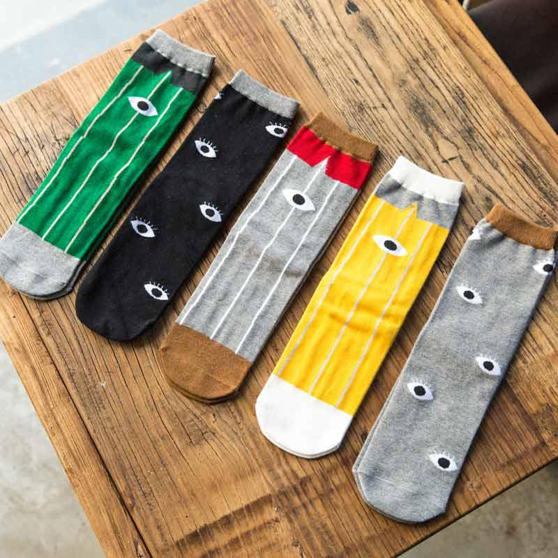 New Arrival  High Quality Stripe Fashion Socks 100% Cotton Socks Autumn Warm Eye Pattern Creative Socks For Men Meias