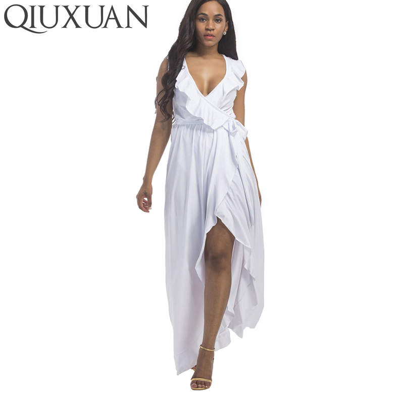 QIUXUAN Plus Size Ruffles Embellished Women High Waist Dress Maxi Tank Dress Fashion Sleeveless Plunging Dress With Belt