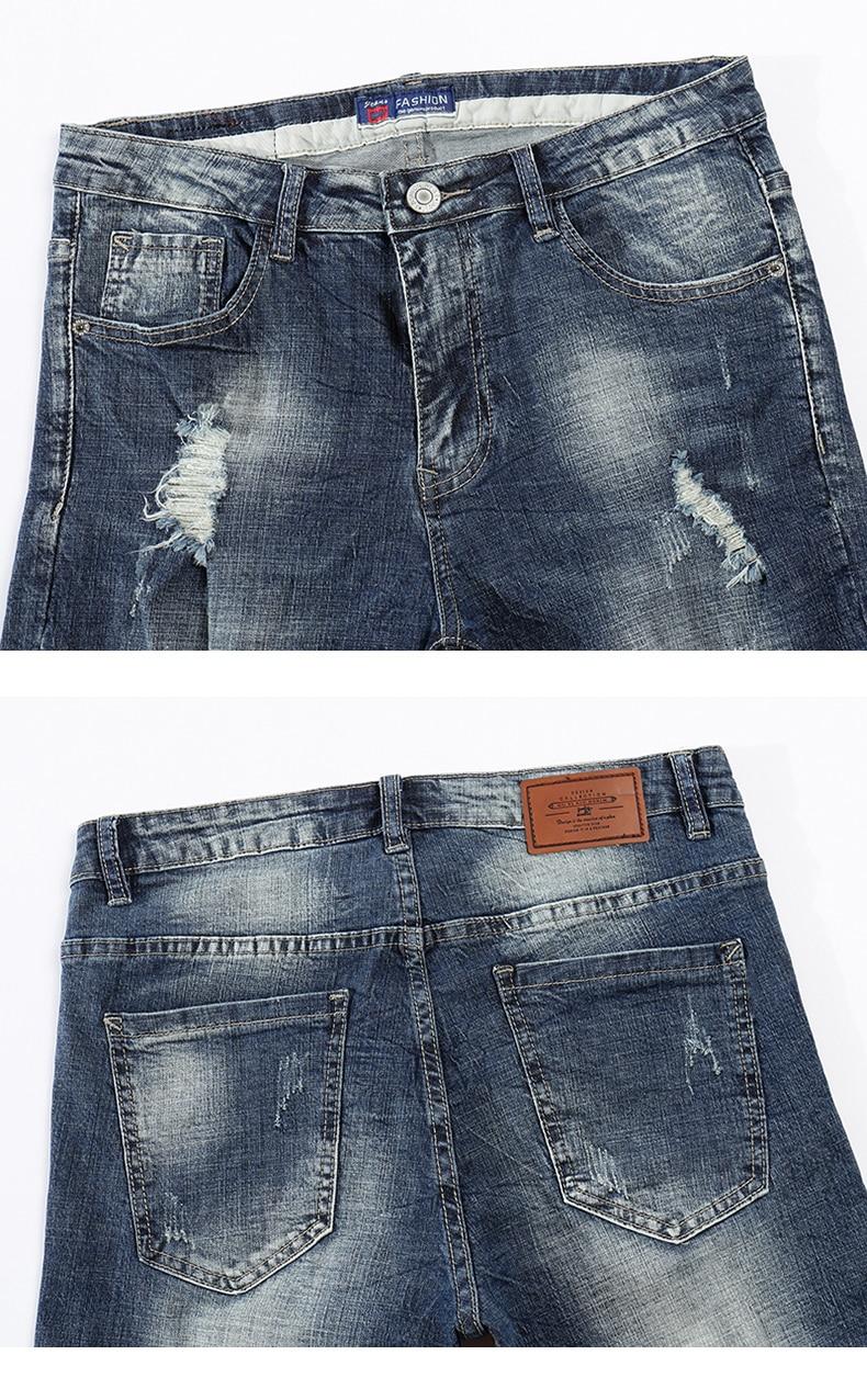 KSTUN Jeans Men Summer Shorts Stretch Dark Blue Hiphop Streetwear Biker Jeans Shorts Man Vintage Pants Ripped Slim Male Short 13