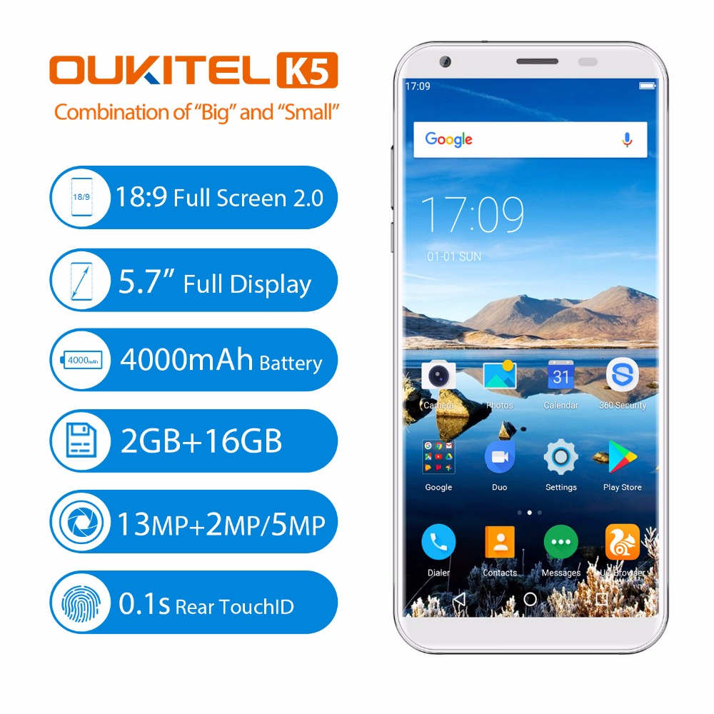 "Oukitel K5 5.7""18:9 Full Screen smartphone Android 7.0 2GB 16GB 4000mAh MT6737T Quad Core 8MP Dual Cam Fingerprint Mobile Phone"