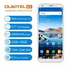 """Oukitel K5 5.7 """"18:9 полный Экран Смартфон Android 7.0 2 ГБ 16 ГБ 4000 мАч mt6737t 4 ядра 8MP двойной cam отпечатков пальцев мобильный телефон"""