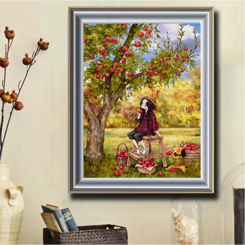 FULL 5D Apple Tree Little Girl Cat Mosaic Diamond Embroidery stickers Painting Cross Stitch gifts home decor 60x82cm in Diamond Painting Cross Stitch from Home Garden
