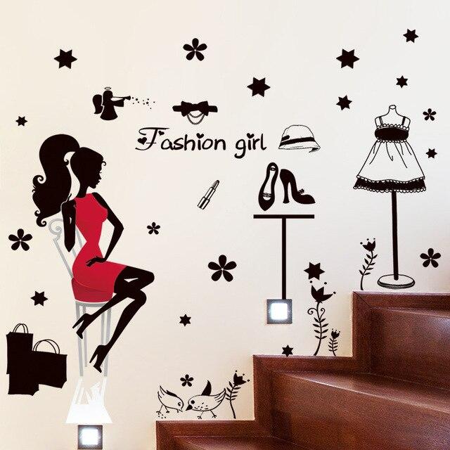 stylish women black red dress shoes shopping wall stickers fashion