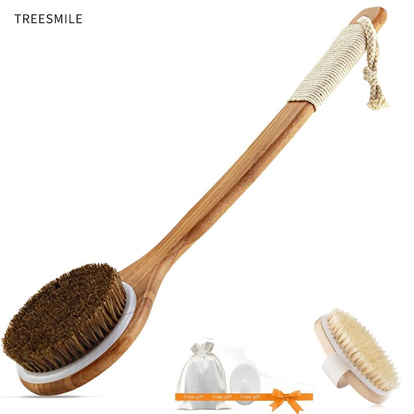 TREESMILE exfoliant en bois corps Massage douche brosse poils naturels bain brosse SPA femme homme soins de la peau sèche corps brosse D40