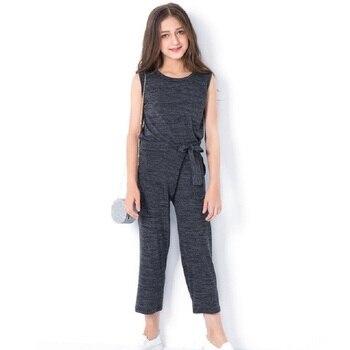 1b691bd93 Ropa para niñas adolescentes para 5 7 9 11 13 años 2 piezas Ropa para Niñas  pantalones de verano otoño sin mangas conjunto de ropa para chicas grandes