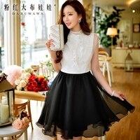 original summer dress 2016 korean beading vintage short white short sleeved fashion office shirt dresses women wholesale