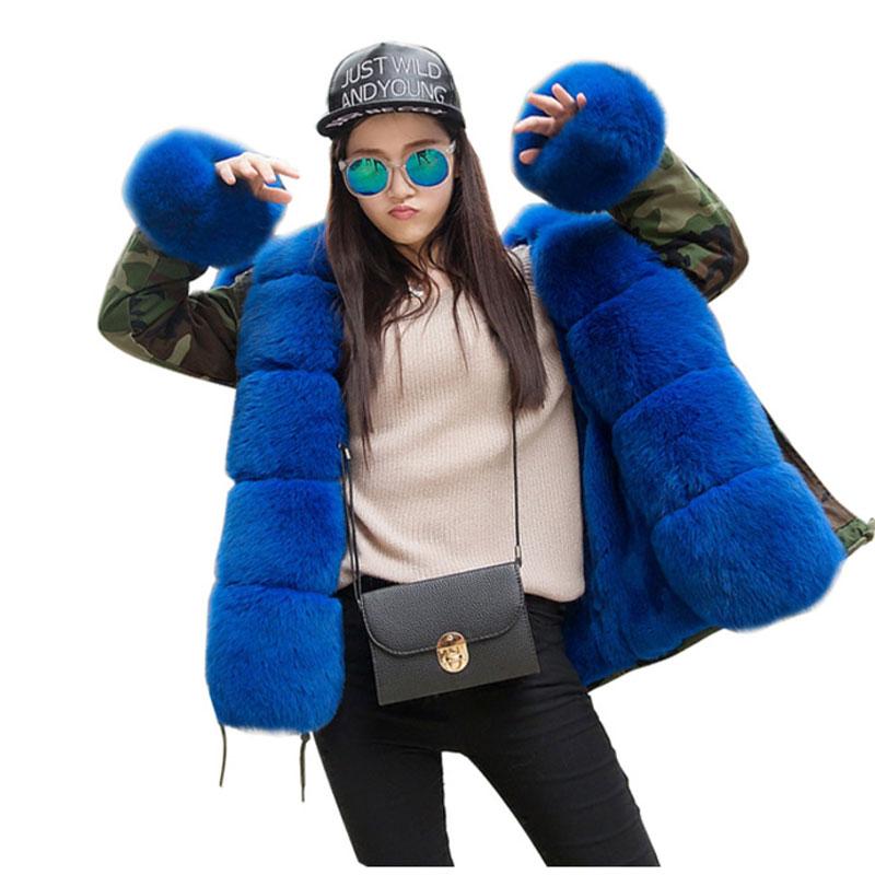 Korean Style 2017 Women's Army Green Luxury Large Fox Fur Collar Cuff Hooded Coat Parkas Outwear Camouflage Winter Jacket Coat