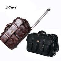 Letrend Новая мужская деловая дорожная сумка Multi function чемодан кожаный чехол для переноски женщин сумки на колесиках тележка интернат сумка баг