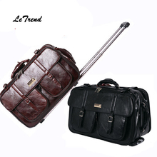 Letrend New Men Business Travel Bag Multi-function Suitcase Leather Carry On Women Rolling Luggage Trolley Boarding Bag Trunk
