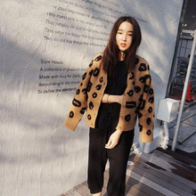 Woman Sweater Leopard Tops Autumn Winter Fashion Knitted Long Sleeve V-Neck Loose Size Casual Cardigan Pull