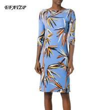 f3cbd90a5599d Ücretsiz Kargo Yeni 2017 Moda Tasarımcısı Marka Elbise kadın 3/4 Kollu Mavi  bambu Baskı XXL Streç Jersey İpek Günü elbise
