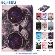 """IKASEFU Marca Nova Pintura Colorida 7.9 """"carteira pu capa de couro para apple ipad mini 4 retina capa de silicone com suporte função"""