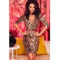 Элегантный половина рукава Плиссированные Wrap V Шеи leopard Платье 2016 Новый Мини Партия Bodycon Бинты Платье Женщины Партия Платье