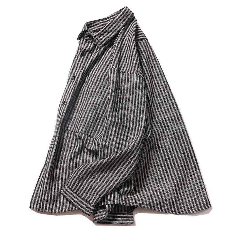 OSCN7 カジュアルストライプ長袖シャツ男性ストリート 2019 秋ファッションスプライス長袖シャツ Harujuku メンズシャツ 2215